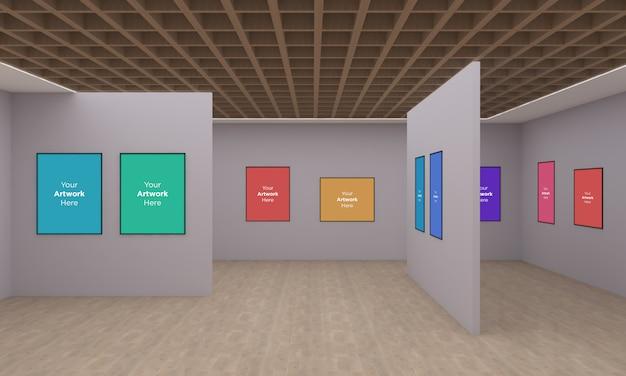 Galeria de arte frames muckup com diferentes direções ilustração 3d e renderização 3d