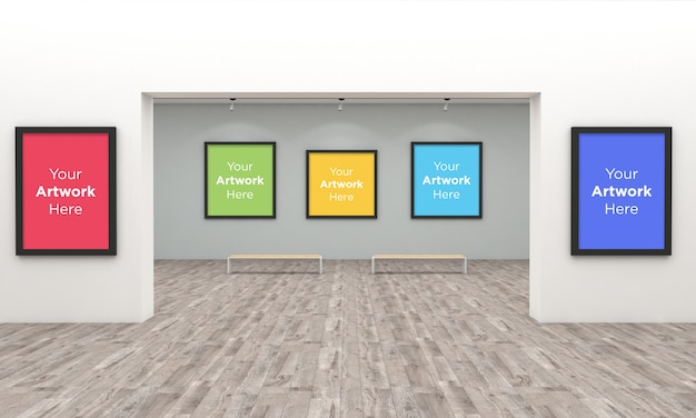 Galeria de arte frames muckup com spot lights ilustração 3d e renderização 3d