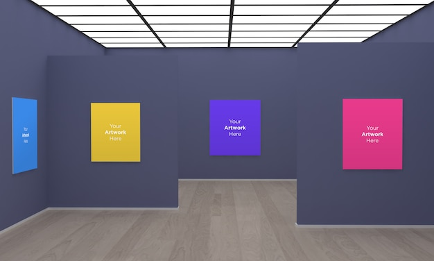 Galeria de arte frames muckup ilustração 3d com parede cinza