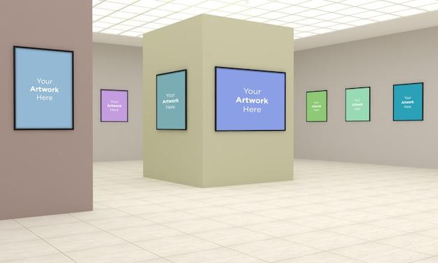 Galeria de arte frames muckup ilustração 3d e renderização 3d com diferentes direções