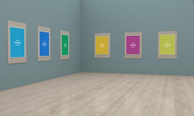 Galeria de arte frames muckup ilustração 3d e visualização de canto de renderização 3d