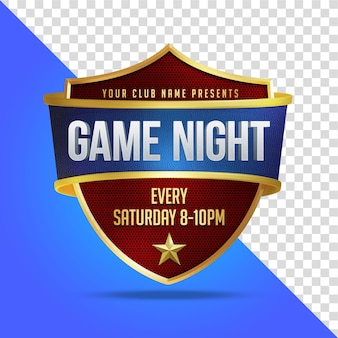 Game night mockup sport shield renderização 3d isolada