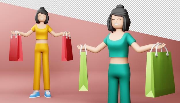 Garota feliz com sacola de compras, renderização em 3d.