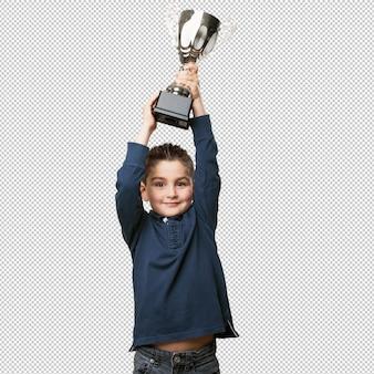 Garotinho com um troféu
