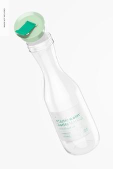 Garrafa de água de plástico com maquete de tampa articulada, aberta