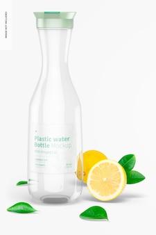 Garrafa de água de plástico com maquete de tampa articulada, vista frontal