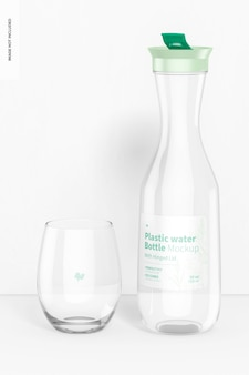 Garrafa de água de plástico com tampa articulada e maquete de vidro
