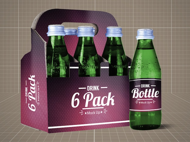 Garrafa de bebida e 6 pack mock up
