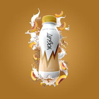 Garrafa de iogurte com maquete de splash e pêssego