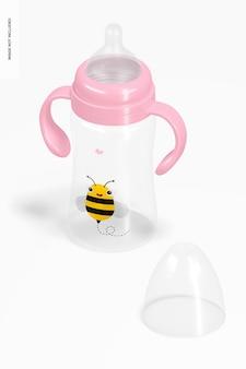Garrafa de leite infantil de 300 ml sem tampa, vista isométrica