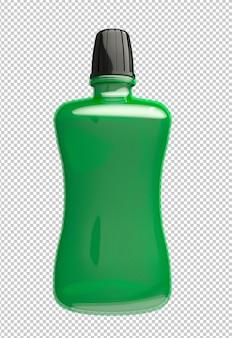 Garrafa de plástico para bochechos com água verde