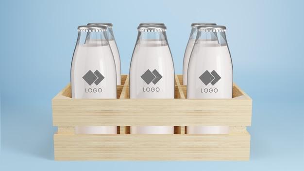 Garrafa de vidro realista com maquete de embalagem de leite