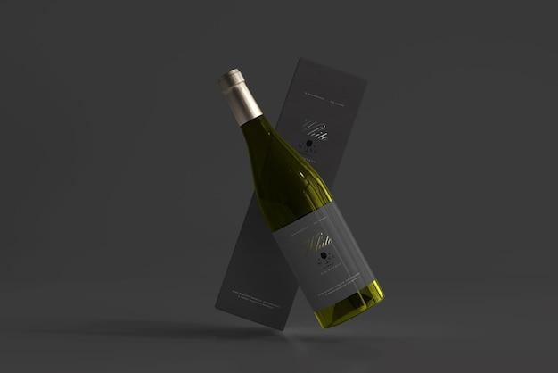 Garrafa de vinho branco com box mockup
