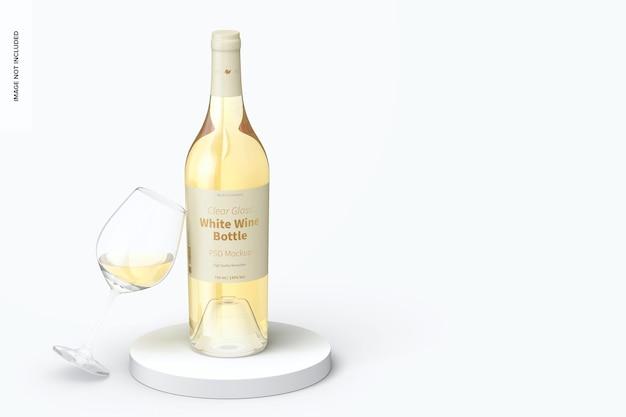 Garrafa de vinho branco de vidro transparente com maquete de copo de vidro