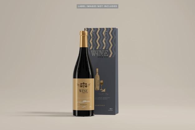 Garrafa de vinho com maquete de sacola de compras