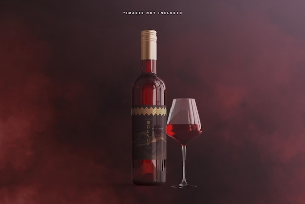Garrafa de vinho com maquete de vidro