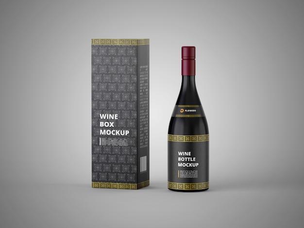 Garrafa de vinho de vidro escuro com caixa