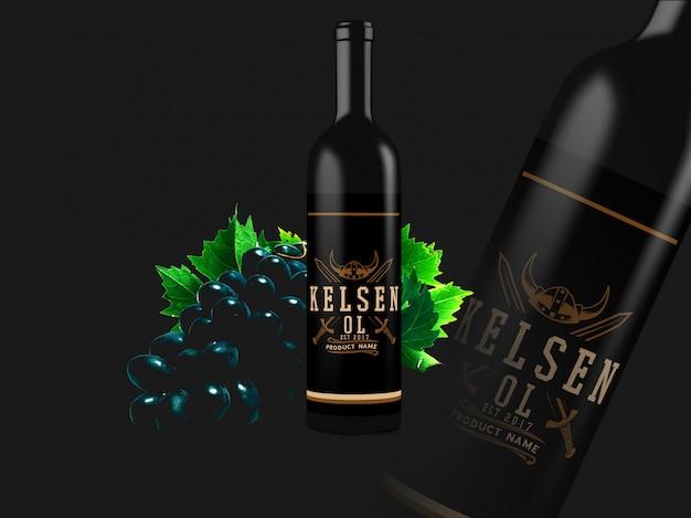 Garrafa de vinho mock up design