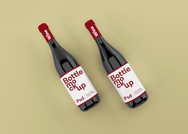 Garrafa de vinho realista com maquete de rótulo