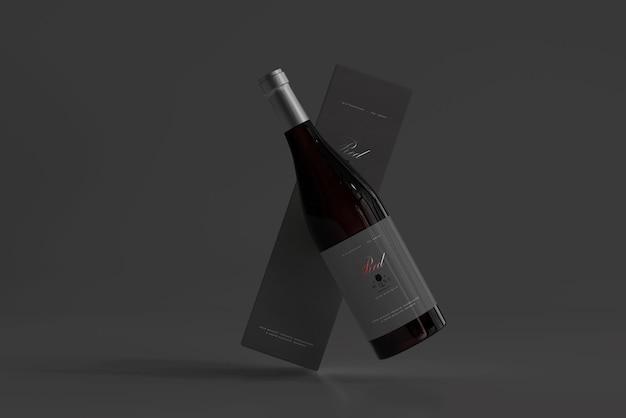 Garrafa de vinho tinto com box mockup