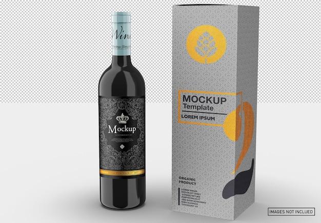 Garrafa de vinho tinto com caixa de maquete