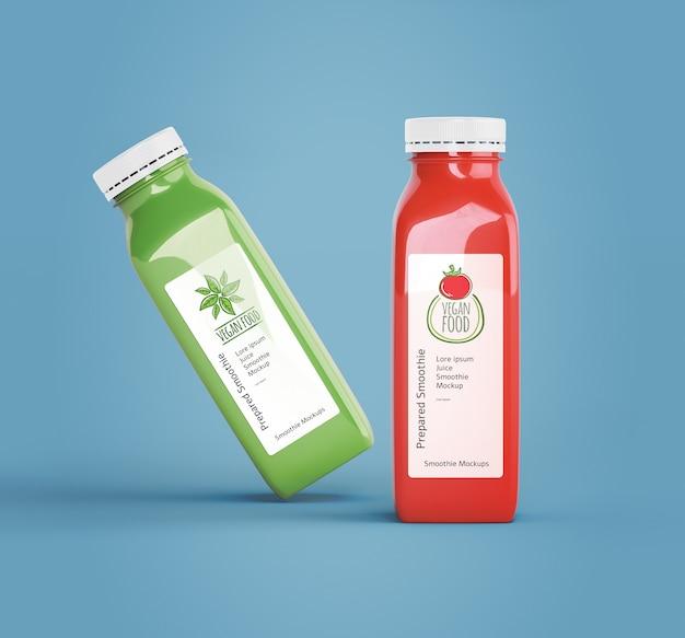Garrafas de plástico com diferentes sucos de frutas ou vegetais