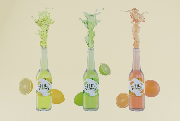 Garrafas de refrigerante de fruta colorida