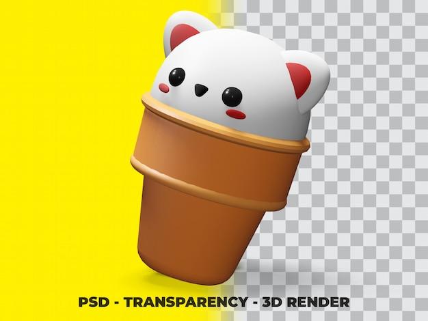 Gato branco fofo 3d no sorvete com fundo transparente psd