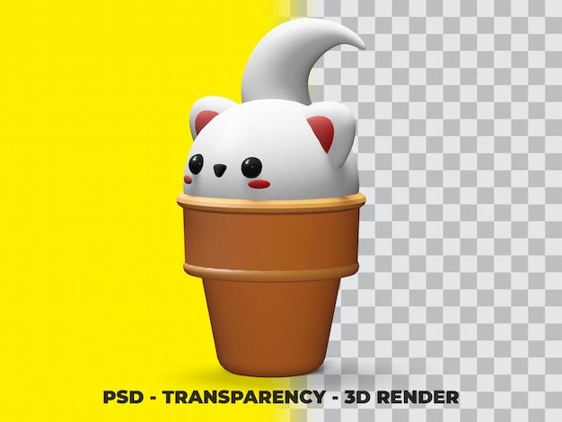 Gato fofo 3d no cone de sorvete com fundo de transparência
