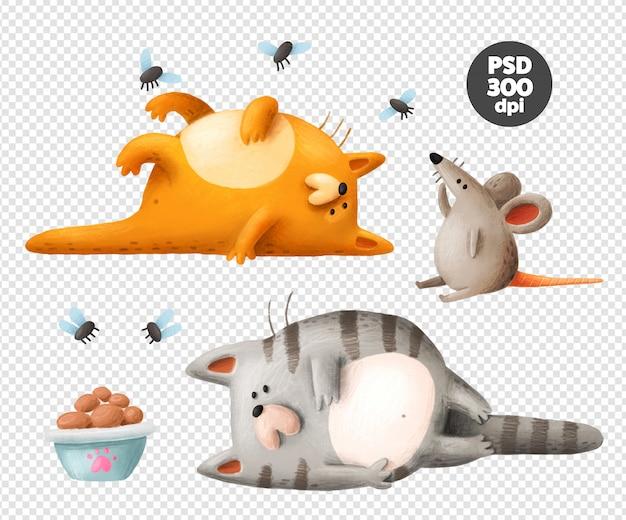 Gatos preguiçosos e rato mão desenhada clipart