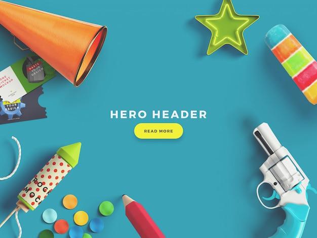 Gerador de cena personalizado herói / cabeçalho colorido