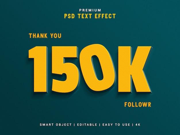Gerador de efeitos de texto seguidor de 150k.