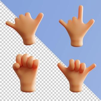 Gesto com a mão renderização 3d fofa ok peace thumb up metal rock pack