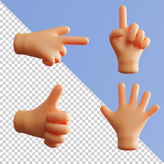 Gesto de mão bonito renderização 3d apontando dedo indicador polegar para cima pacote