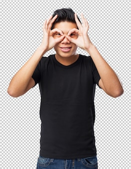 Gesto legal de óculos de homem chinês