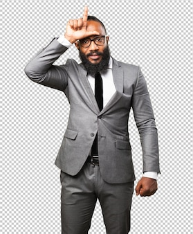Gesto mais flexível do homem negro de negócios