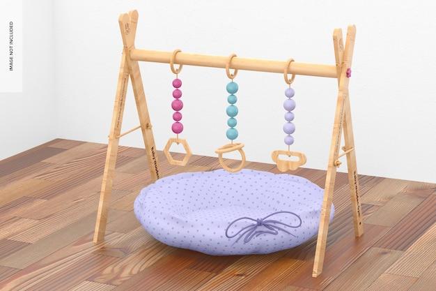 Ginásio de madeira para bebês com maquete de ninho