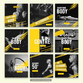 Ginástica e fitness instagram story e post template collection psd
