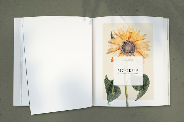 Girassol em um modelo de revista com um espaço em branco