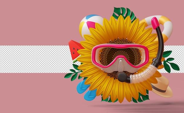 Girassol usando máscara de mergulho com visor de acessórios de verão