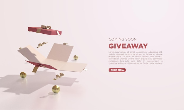 Giveaway 3d render with illustration open gift box
