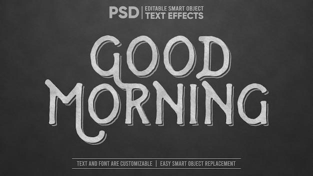 Giz no quadro negro efeito de texto de objeto inteligente editável Psd Premium