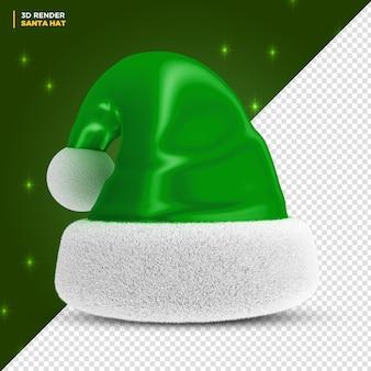 Globo 3d do chapéu do papai noel verde do natal render isolado
