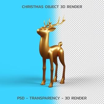 Gold deer., renderização 3d do objeto de natal