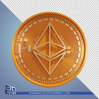 Gold ethereum coin criptomoeda 3d renderização isolada