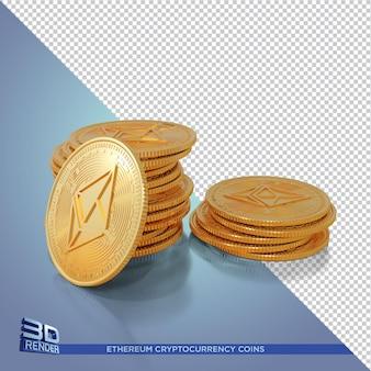 Gold ethereum coins criptomoeda 3d renderização isolada