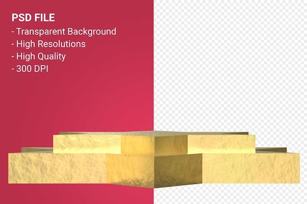 Gold podium mínimo em fundo transparente para apresentação de produtos cosméticos