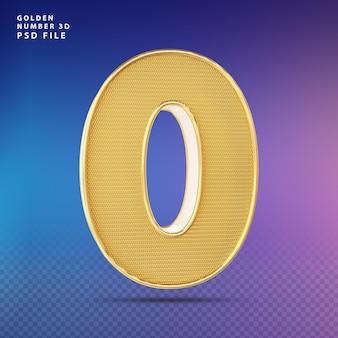 Golden number 0 3d render luxo