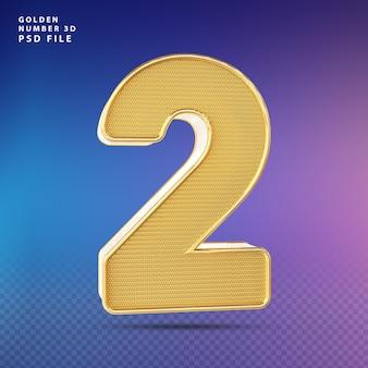 Golden number 2 3d render luxo