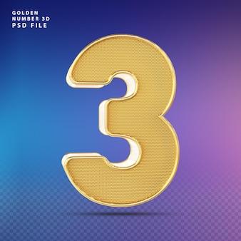 Golden number 3 3d render luxo